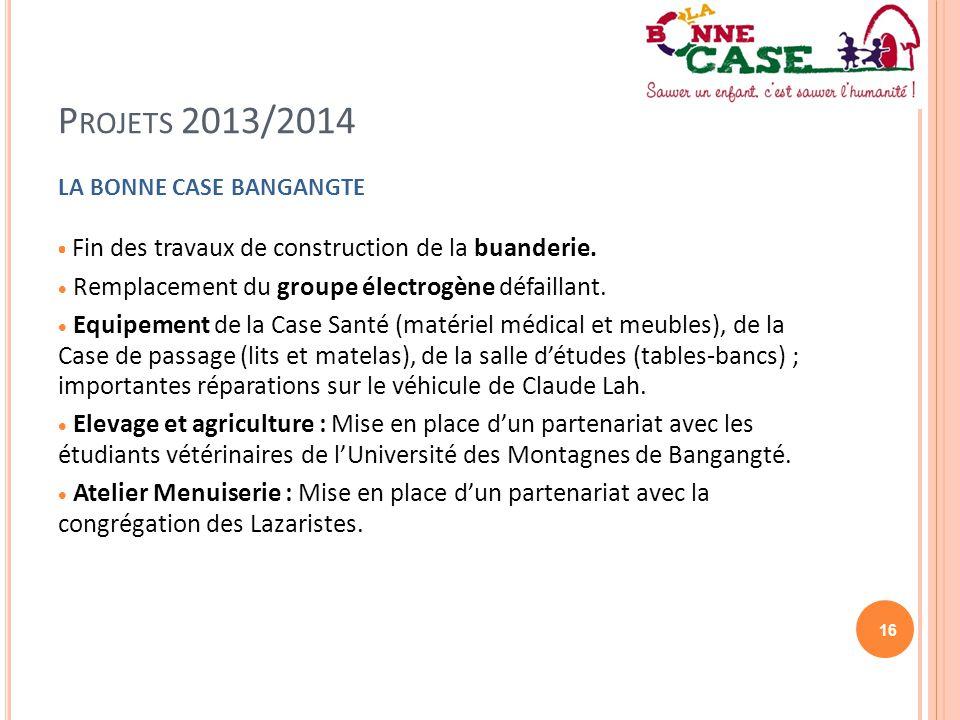 16 P ROJETS 2013/2014 LA BONNE CASE BANGANGTE  Fin des travaux de construction de la buanderie.  Remplacement du groupe électrogène défaillant.  Eq