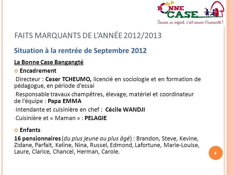 4 FAITS MARQUANTS DE L'ANNÉE 2012/2013 Situation à la rentrée de Septembre 2012 La Bonne Case Bangangté Encadrement - Directeur : Ceser TCHEUMO, licen