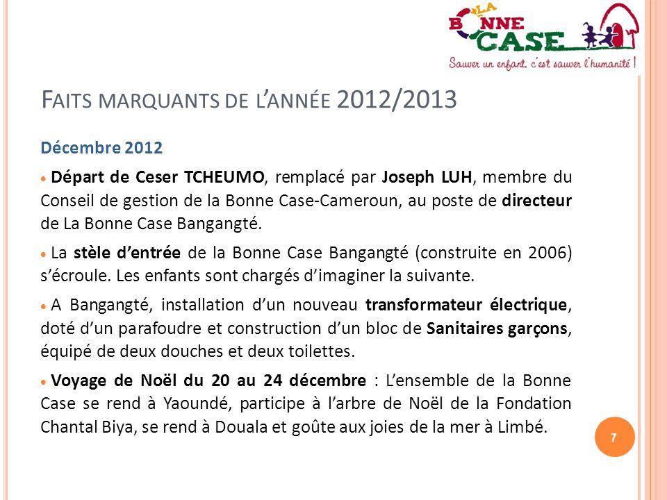 7 F AITS MARQUANTS DE L ' ANNÉE 2012/2013 Décembre 2012  Départ de Ceser TCHEUMO, remplacé par Joseph LUH, membre du Conseil de gestion de la Bonne C