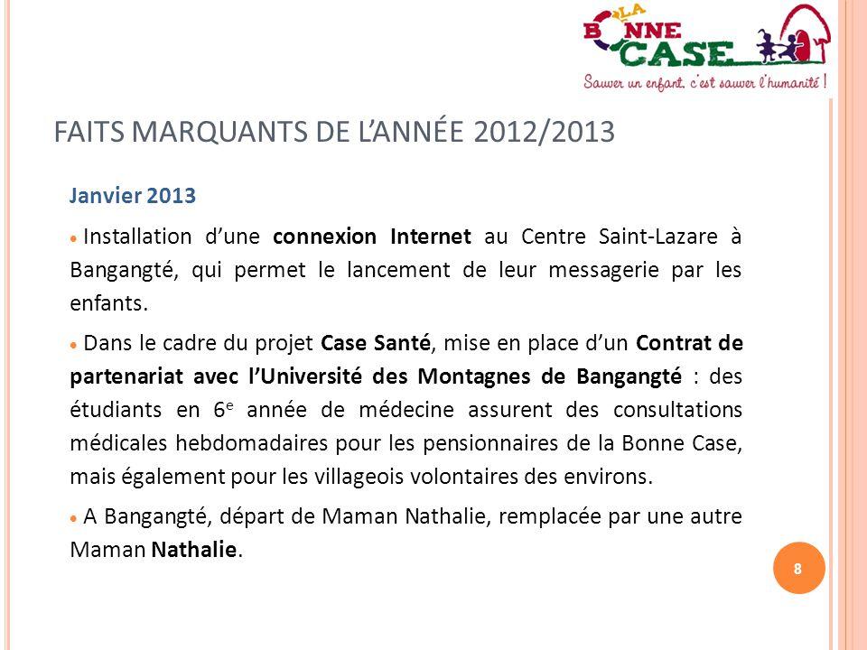 8 FAITS MARQUANTS DE L'ANNÉE 2012/2013 Janvier 2013  Installation d'une connexion Internet au Centre Saint-Lazare à Bangangté, qui permet le lancemen