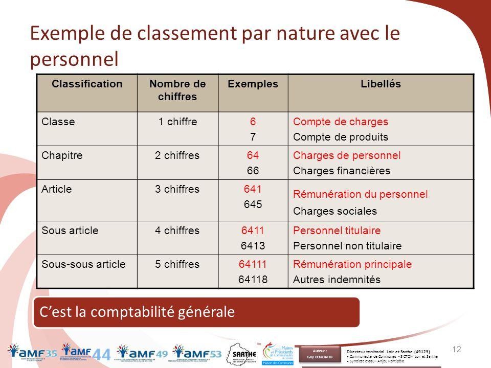 Exemple de classement par nature avec le personnel ClassificationNombre de chiffres ExemplesLibellés Classe1 chiffre6767 Compte de charges Compte de p