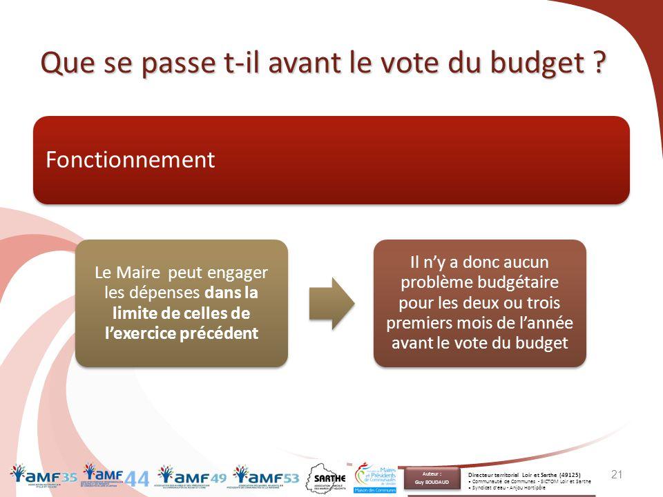 Que se passe t-il avant le vote du budget ? Fonctionnement 21 Le Maire peut engager les dépenses dans la limite de celles de l'exercice précédent Il n