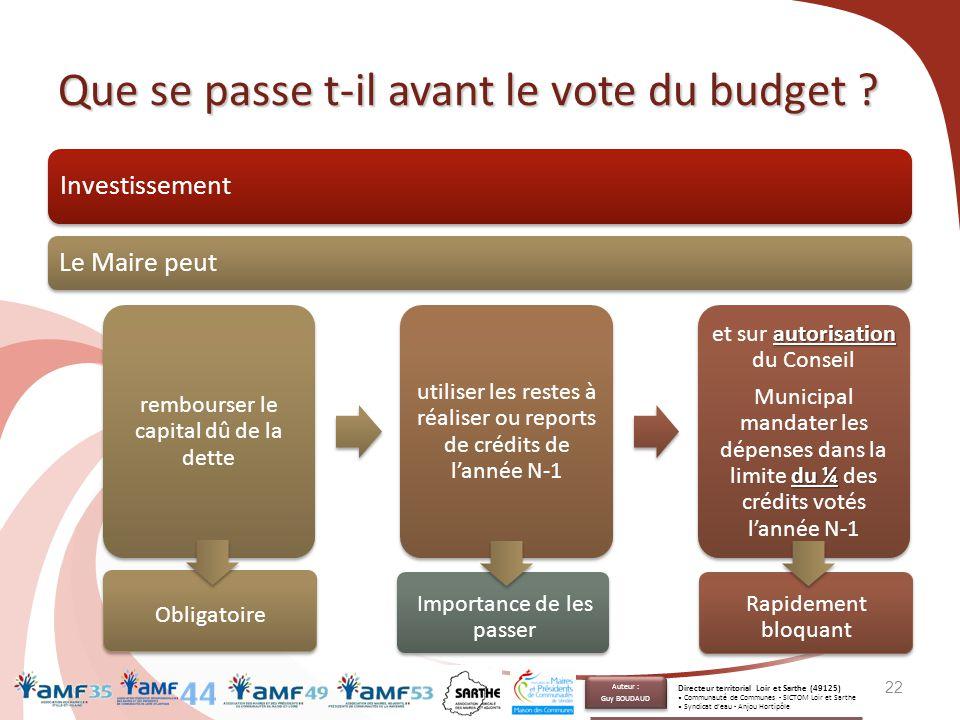 Que se passe t-il avant le vote du budget ? Investissement Le Maire peut 22 rembourser le capital dû de la dette utiliser les restes à réaliser ou rep