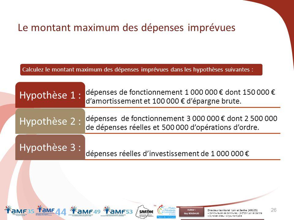 Le montant maximum des dépenses imprévues dépenses de fonctionnement 1 000 000 € dont 150 000 € d'amortissement et 100 000 € d'épargne brute. Hypothès