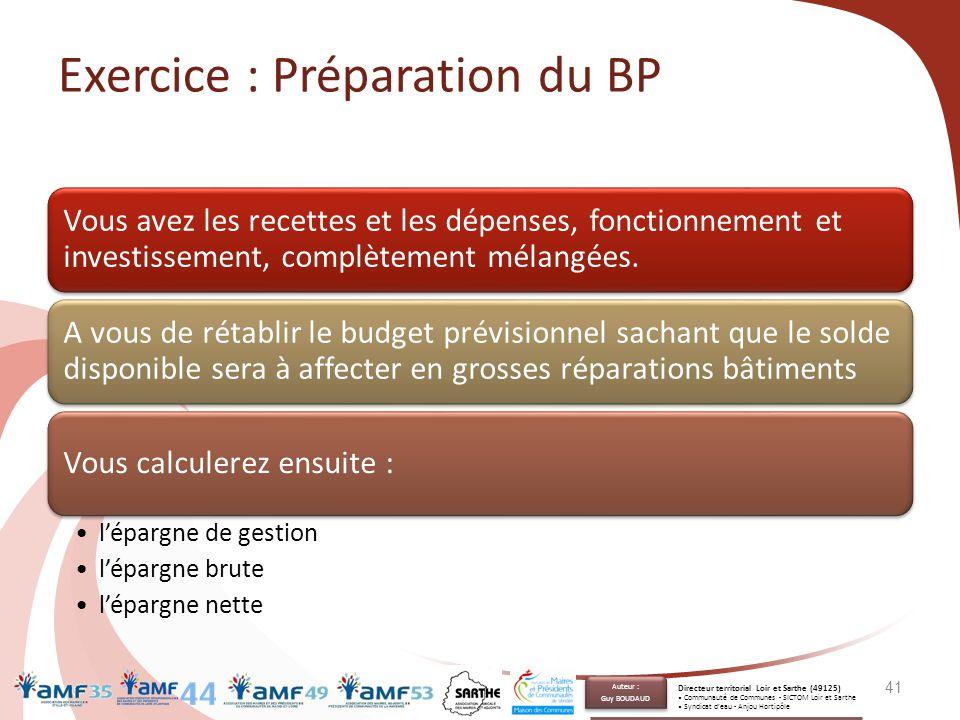 Exercice : Préparation du BP Vous avez les recettes et les dépenses, fonctionnement et investissement, complètement mélangées. A vous de rétablir le b