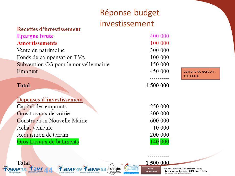 Recettes d'investissement Epargne brute 400 000 Amortissements100 000 Vente du patrimoine300 000 Fonds de compensation TVA 100 000 Subvention CG pour