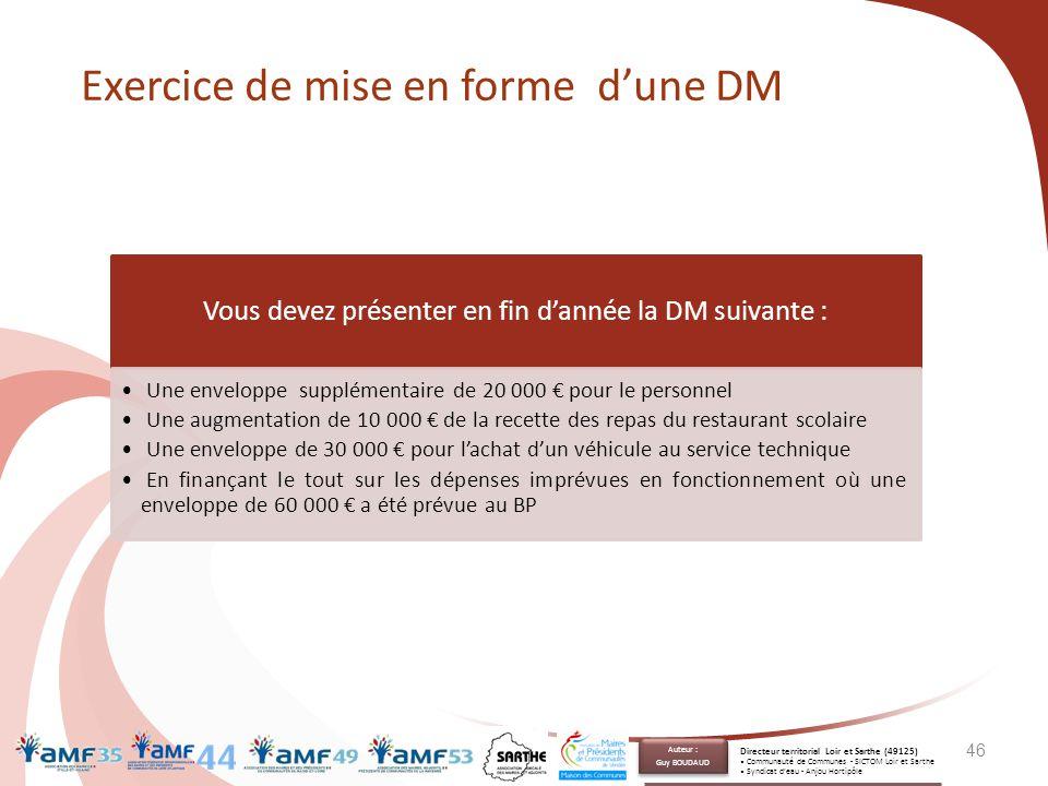 46 Vous devez présenter en fin d'année la DM suivante : Une enveloppe supplémentaire de 20 000 € pour le personnel Une augmentation de 10 000 € de la