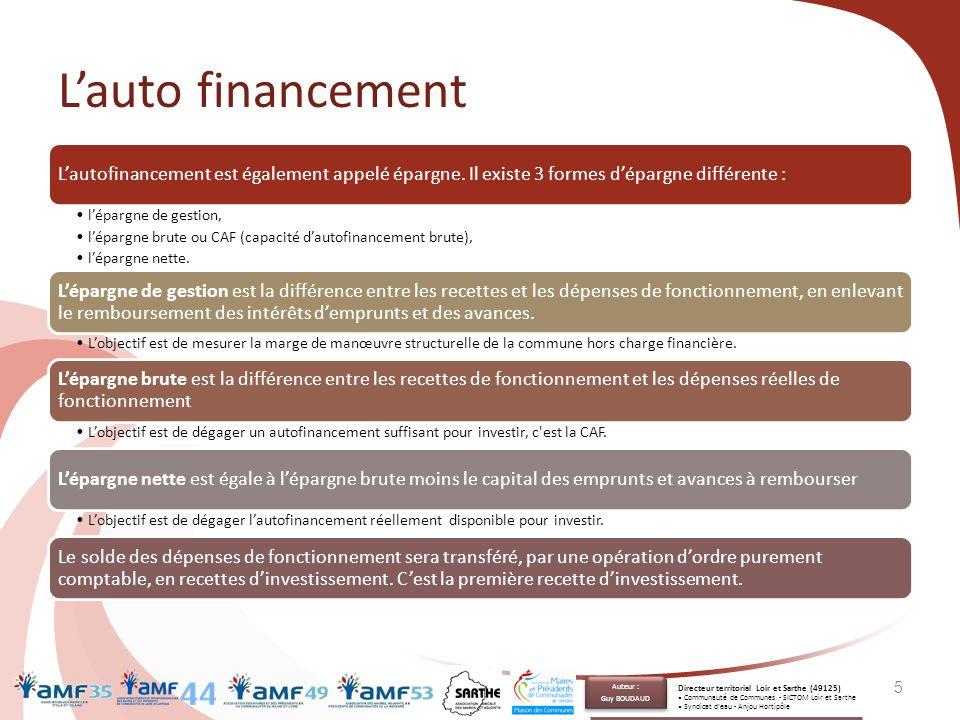 L'importance de la CAF 6 Importance de la CAF Dépenses de fonctionnement Recettes de fonctionnement ❷ Augmentation des dépenses Baisse de la CAF Dépenses d'investissementRecettes d'investissement ❸ Emprunt nouveau ❶ Baisse des recettes Baisse de la CAF = baisse des investissements La CAF est donc le ratio majeur à surveiller.