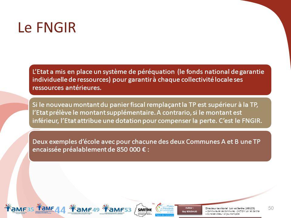 Le FNGIR 50 L'Etat a mis en place un système de péréquation (le fonds national de garantie individuelle de ressources) pour garantir à chaque collecti