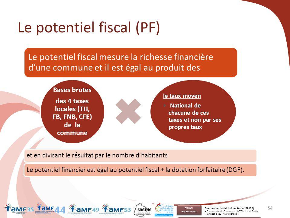 Le potentiel fiscal (PF) 54 Le potentiel fiscal mesure la richesse financière d'une commune et il est égal au produit des Bases brutes des 4 taxes loc