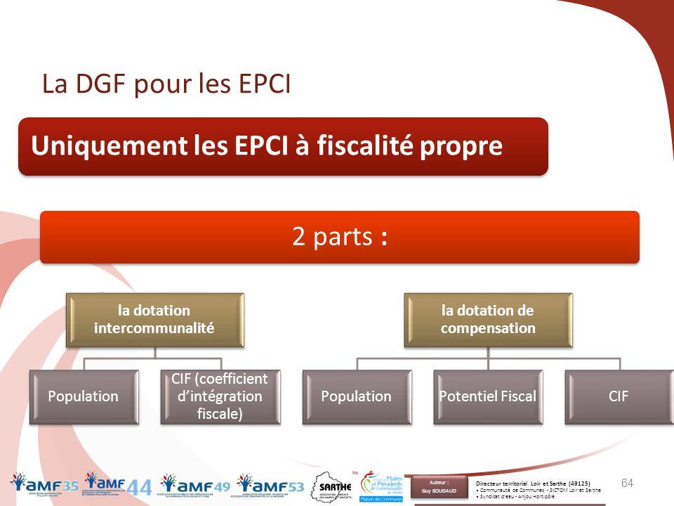 64 La DGF pour les EPCI Uniquement les EPCI à fiscalité propre 2 parts : la dotation intercommunalité Population CIF (coefficient d'intégration fiscal
