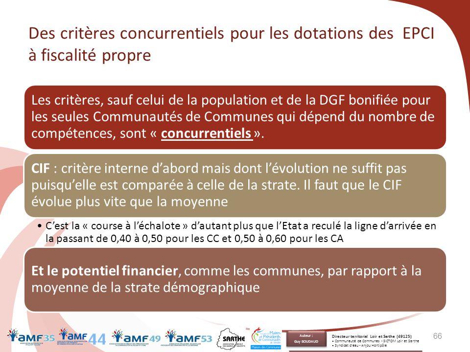 Des critères concurrentiels pour les dotations des EPCI à fiscalité propre Les critères, sauf celui de la population et de la DGF bonifiée pour les se