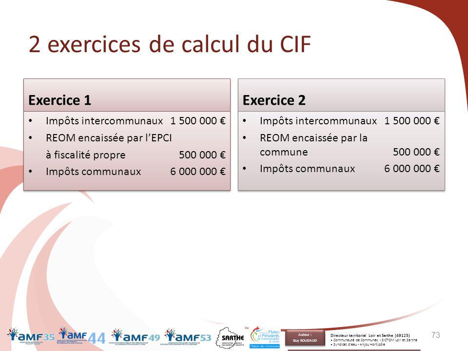 2 exercices de calcul du CIF Exercice 1 Impôts intercommunaux1 500 000 € REOM encaissée par l'EPCI à fiscalité propre500 000 € Impôts communaux6 000 0