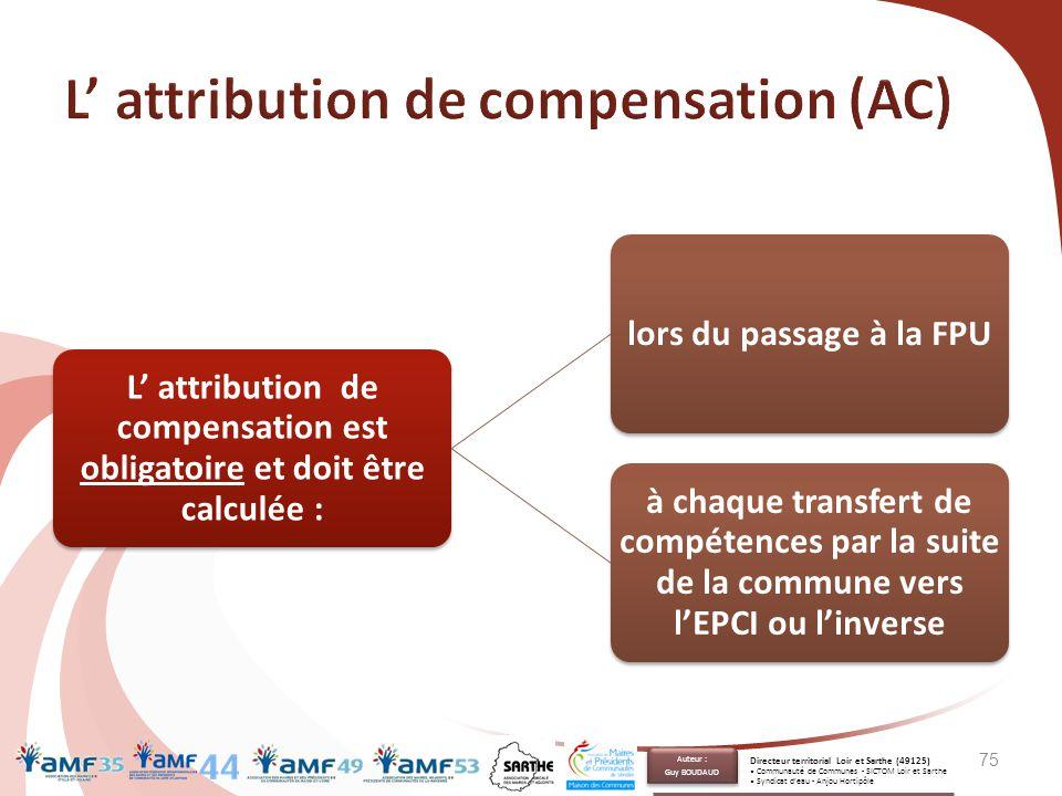 L' attribution de compensation est obligatoire et doit être calculée : lors du passage à la FPU à chaque transfert de compétences par la suite de la c