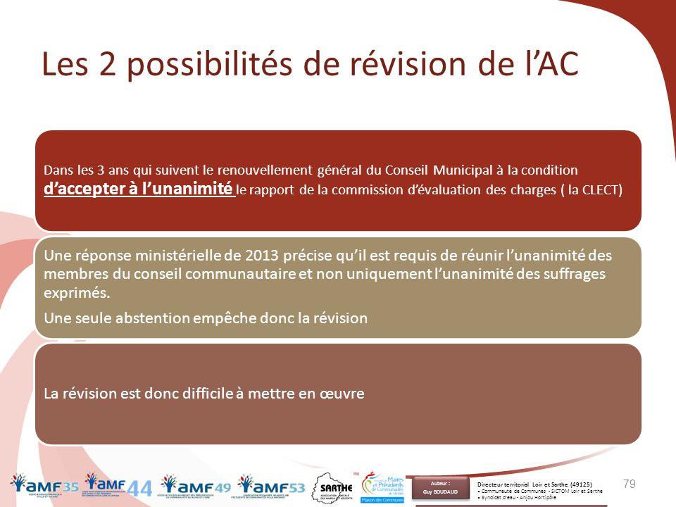 Les 2 possibilités de révision de l'AC Dans les 3 ans qui suivent le renouvellement général du Conseil Municipal à la condition d'accepter à l'unanimi