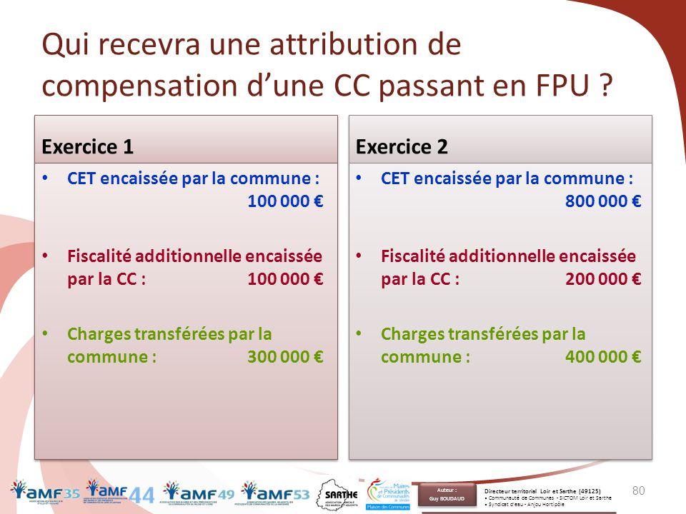 Qui recevra une attribution de compensation d'une CC passant en FPU ? Exercice 1 CET encaissée par la commune : 100 000 € Fiscalité additionnelle enca