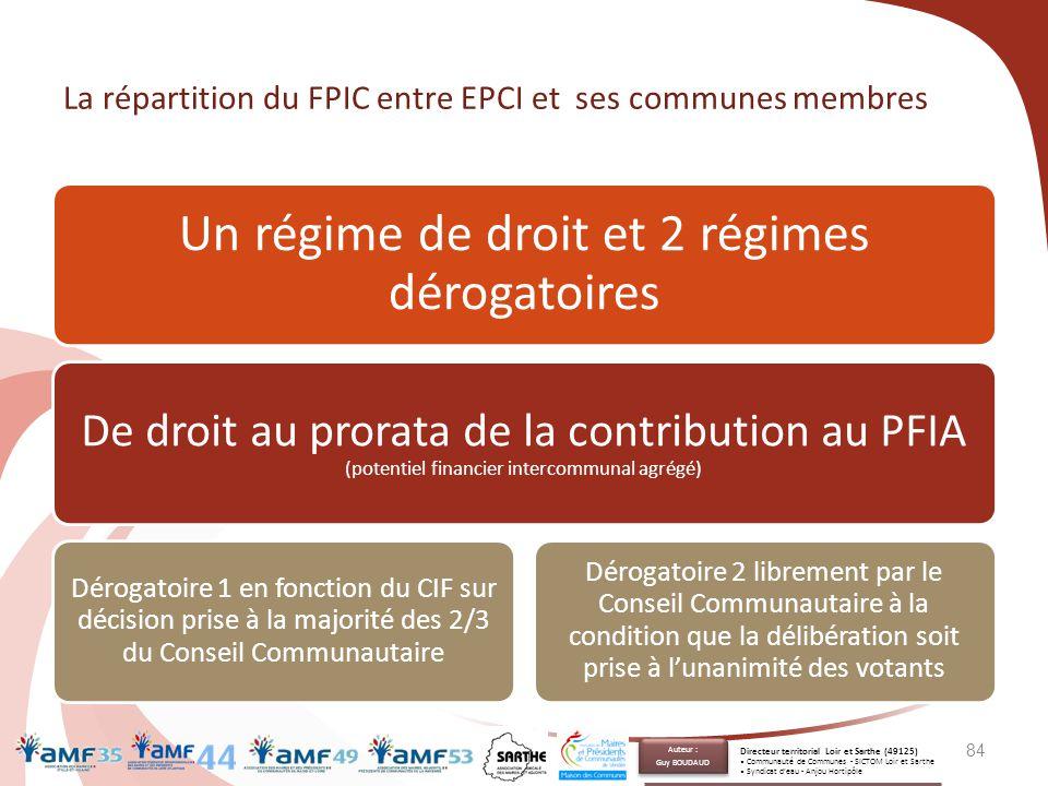 La répartition du FPIC entre EPCI et ses communes membres Un régime de droit et 2 régimes dérogatoires De droit au prorata de la contribution au PFIA