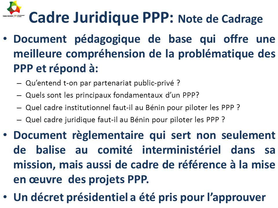 Cadre Juridique PPP: Note de Cadrage Document pédagogique de base qui offre une meilleure compréhension de la problématique des PPP et répond à: – Qu'