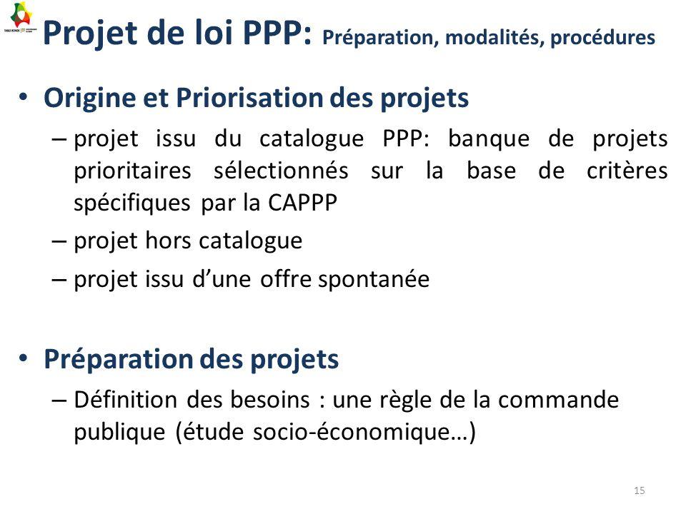 Projet de loi PPP: Préparation, modalités, procédures Origine et Priorisation des projets – projet issu du catalogue PPP: banque de projets prioritair
