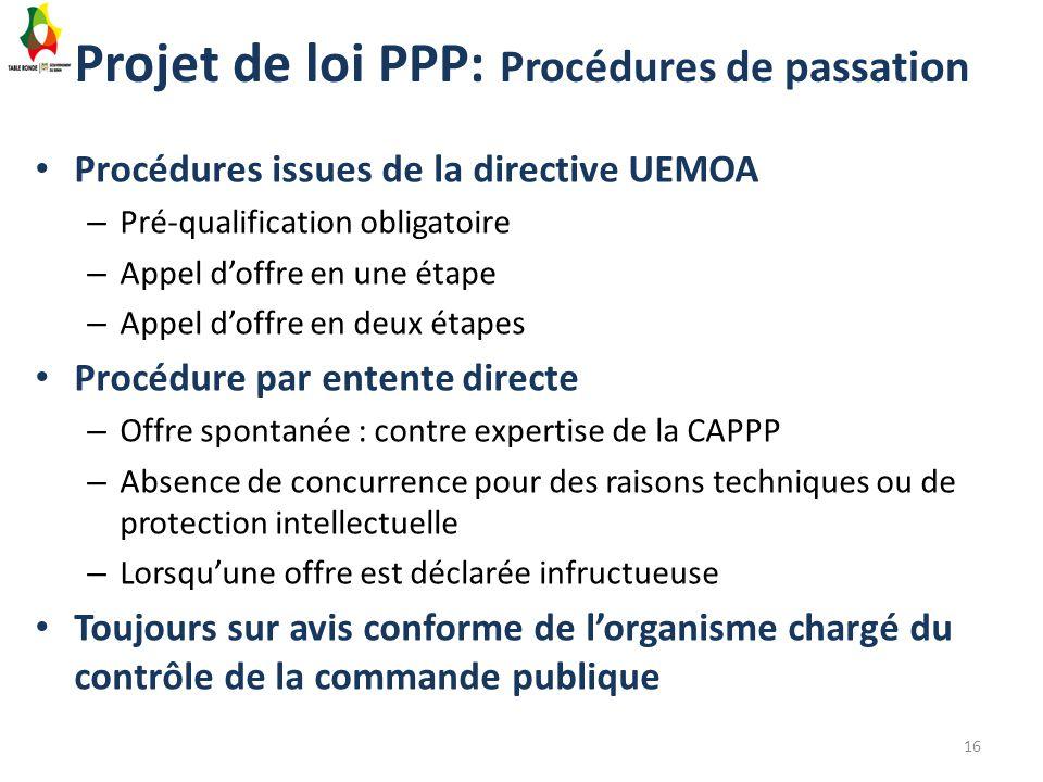 Projet de loi PPP: Procédures de passation Procédures issues de la directive UEMOA – Pré-qualification obligatoire – Appel d'offre en une étape – Appe