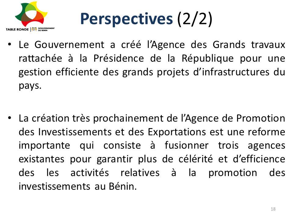 Perspectives (2/2) Le Gouvernement a créé l'Agence des Grands travaux rattachée à la Présidence de la République pour une gestion efficiente des grand