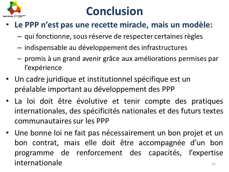 Conclusion Le PPP n'est pas une recette miracle, mais un modèle: – qui fonctionne, sous réserve de respecter certaines règles – indispensable au dével