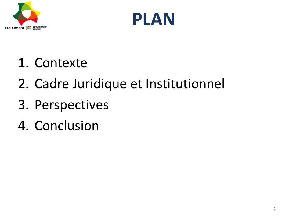 Contexte (1/6) L'émergence du Bénin passe par le développement des infrastructures qui est une exigence pour la croissance économique inclusive de qualité et l'élimination de l'extrême pauvreté Le Gouvernement du Bénin s'est résolument engagé dans la dynamique de la réalisation effective de ses projets d'infrastructures structurantes 3