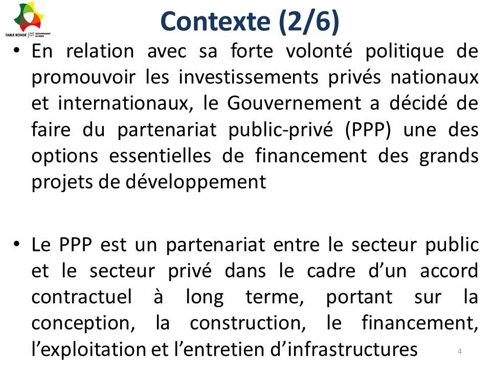Contexte (3/6) Les PPP permettent: – Amélioration de la qualité du service publique; – Réduction du poids de l'infrastructure sur le budget de l'Etat; – Promotion de l'Investissement privé; – Transfert des risques; – Complète les financements publics insuffisants.