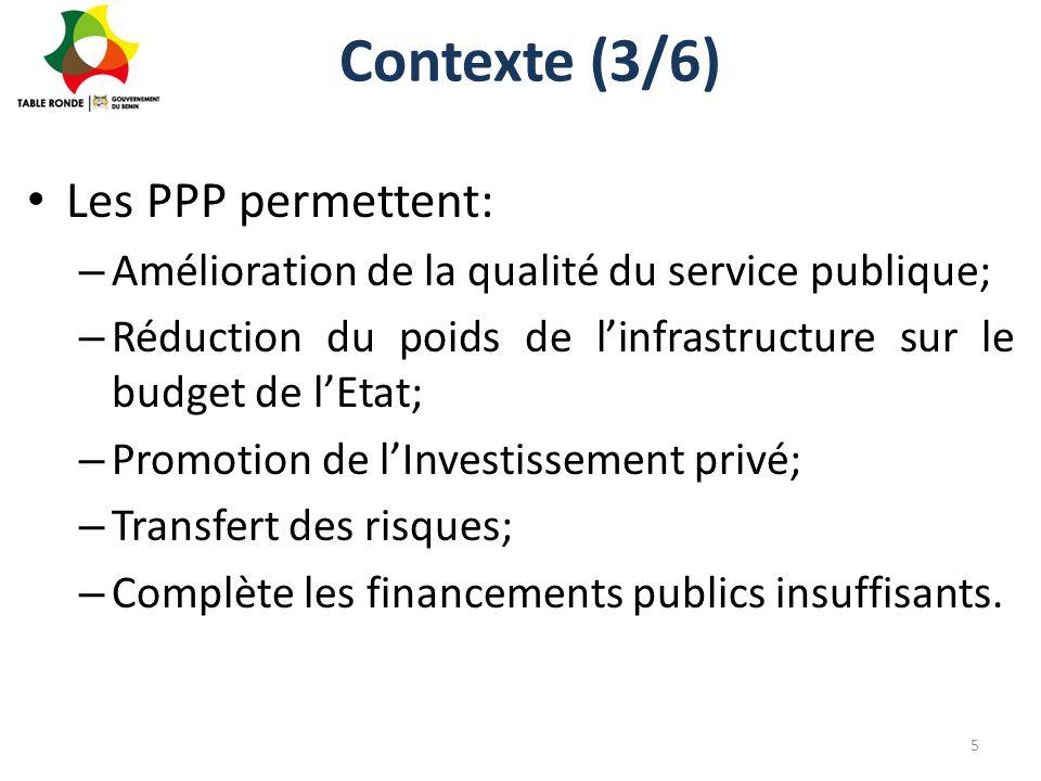 Contexte (4/6) Les cinq projets PPP phares présentés à Paris – le projet épine dorsale; – le programme de construction d'infrastructures énergétiques, de restructuration et d'extension du réseau de distribution de l'énergie ; – le projet de développement touristique de la route des pêches ; – le programme de développement des aménagements hydro-agricoles; – le projet de construction d'un hôpital d'excellence.