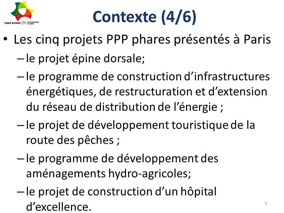 Contexte (4/6) Les cinq projets PPP phares présentés à Paris – le projet épine dorsale; – le programme de construction d'infrastructures énergétiques,