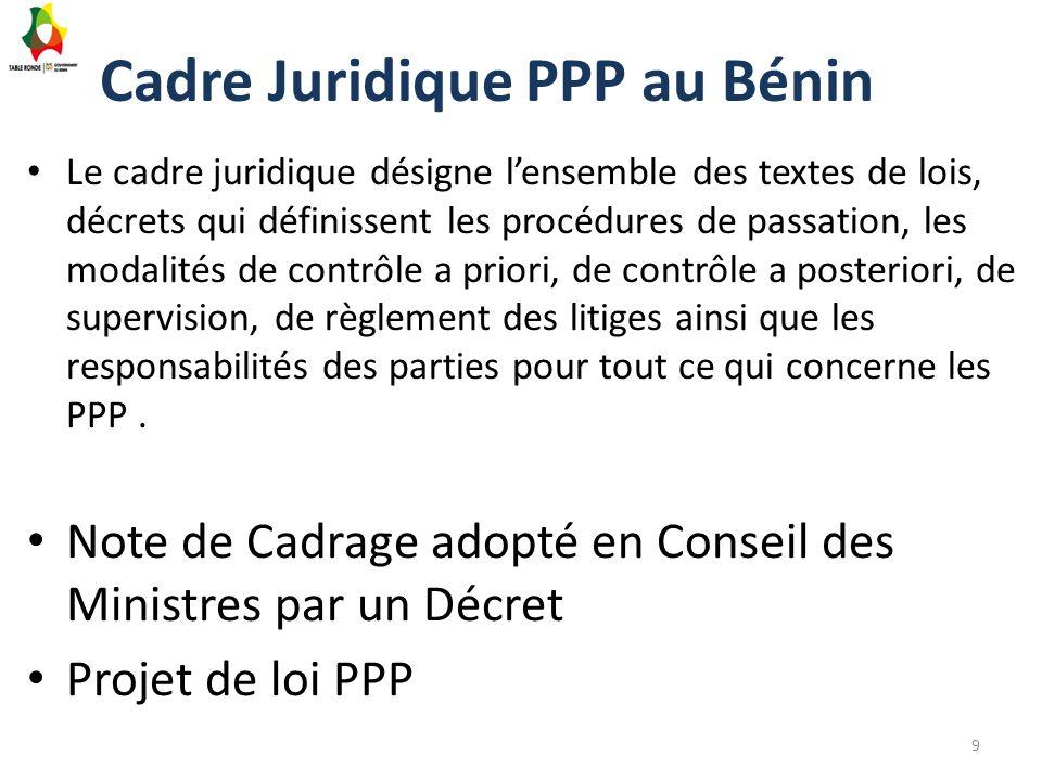Cadre Juridique PPP au Bénin Le cadre juridique désigne l'ensemble des textes de lois, décrets qui définissent les procédures de passation, les modali