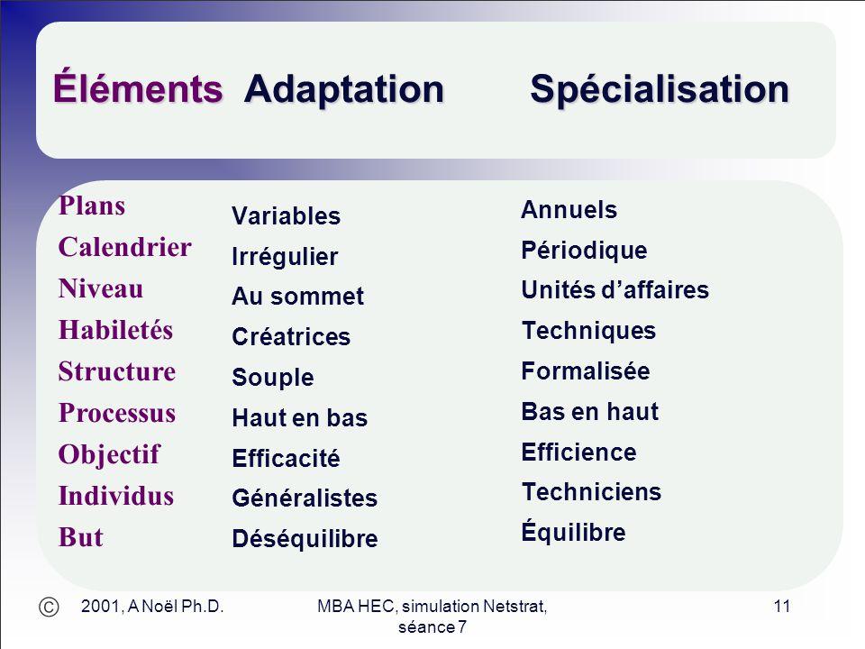  2001, A Noël Ph.D.MBA HEC, simulation Netstrat, séance 7 11 Éléments Adaptation Spécialisation Variables Irrégulier Au sommet Créatrices Souple Haut