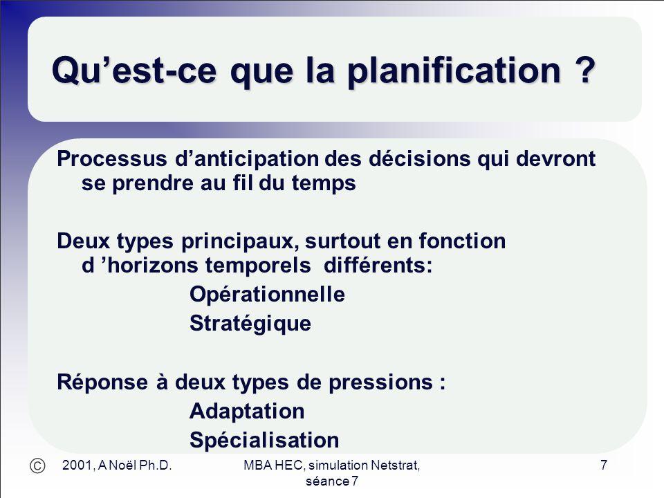  2001, A Noël Ph.D.MBA HEC, simulation Netstrat, séance 7 7 Qu'est-ce que la planification ? Processus d'anticipation des décisions qui devront se pr