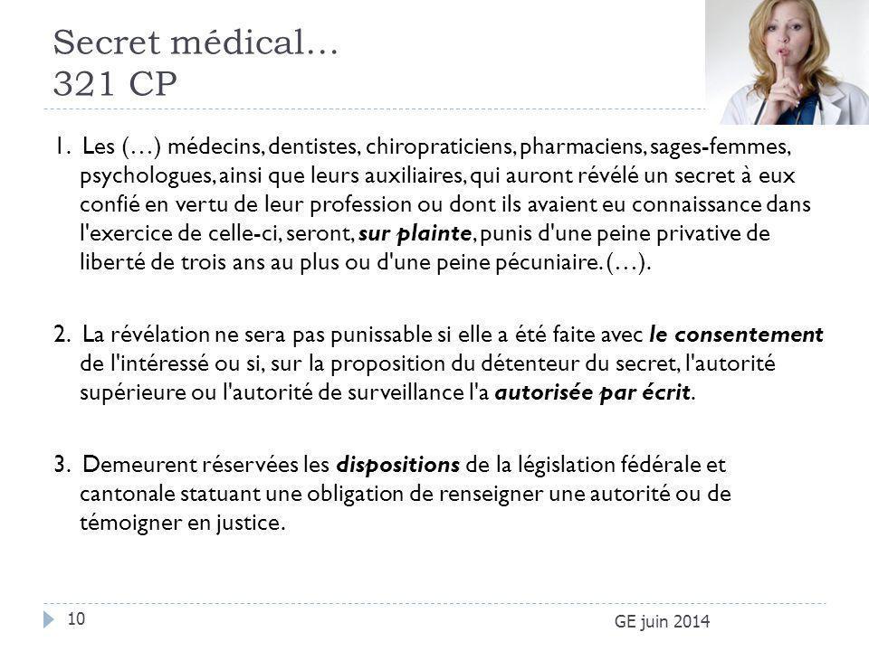 Secret médical… 321 CP GE juin 2014 10 1. Les (…) médecins, dentistes, chiropraticiens, pharmaciens, sages-femmes, psychologues, ainsi que leurs auxil