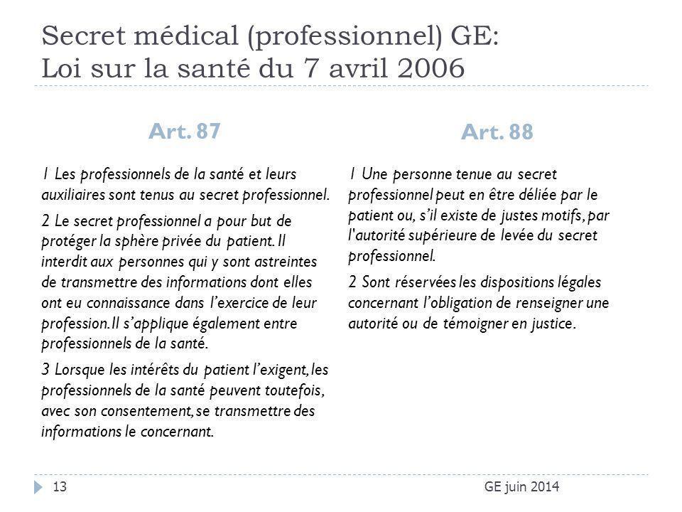 Secret médical (professionnel) GE: Loi sur la santé du 7 avril 2006 Art. 87 Art. 88 GE juin 201413 1 Les professionnels de la santé et leurs auxiliair