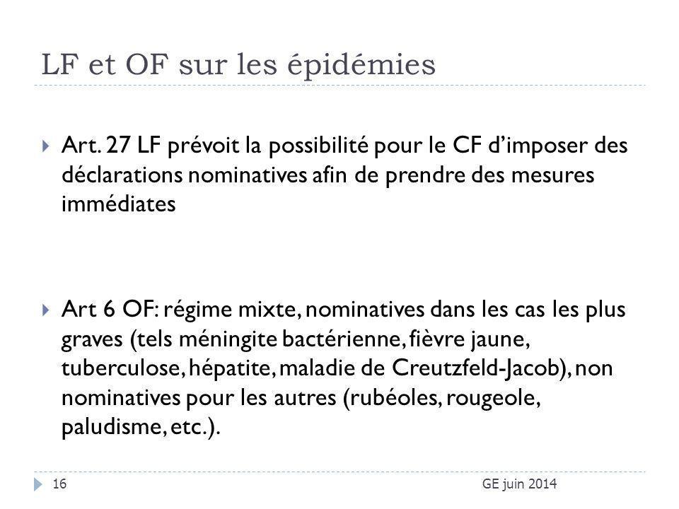 LF et OF sur les épidémies GE juin 201416  Art. 27 LF prévoit la possibilité pour le CF d'imposer des déclarations nominatives afin de prendre des me