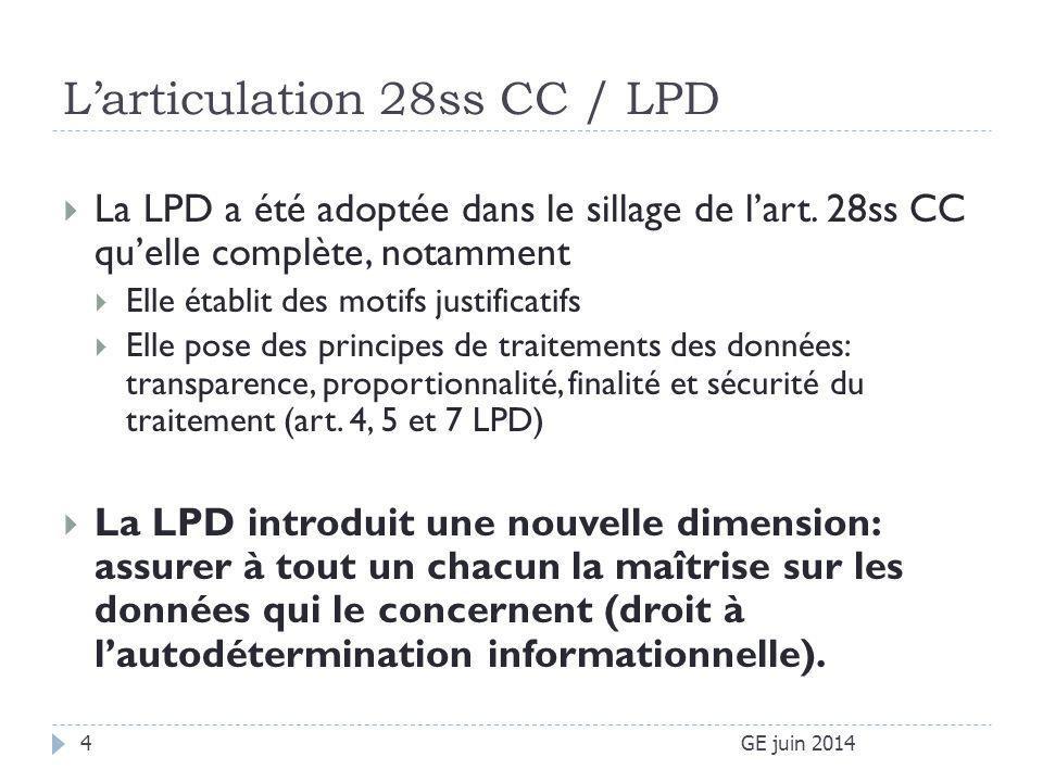 L'articulation 28ss CC / LPD  La LPD a été adoptée dans le sillage de l'art. 28ss CC qu'elle complète, notamment  Elle établit des motifs justificat