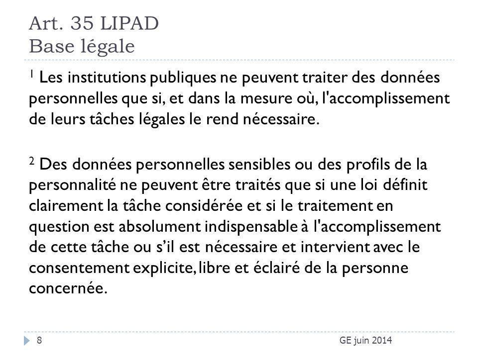 Art. 35 LIPAD Base légale GE juin 20148 1 Les institutions publiques ne peuvent traiter des données personnelles que si, et dans la mesure où, l'accom