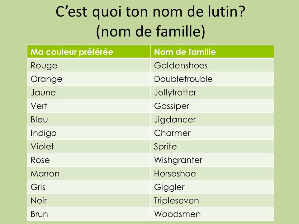 C'est quoi ton nom de lutin? (nom de famille)