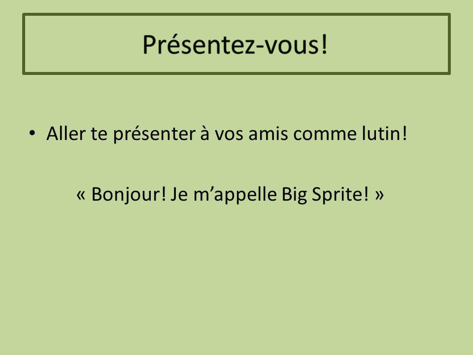Aller te présenter à vos amis comme lutin! « Bonjour! Je m'appelle Big Sprite! »