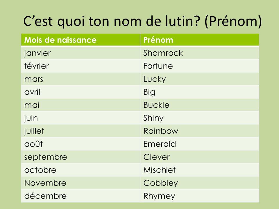 C'est quoi ton nom de lutin? (Prénom)