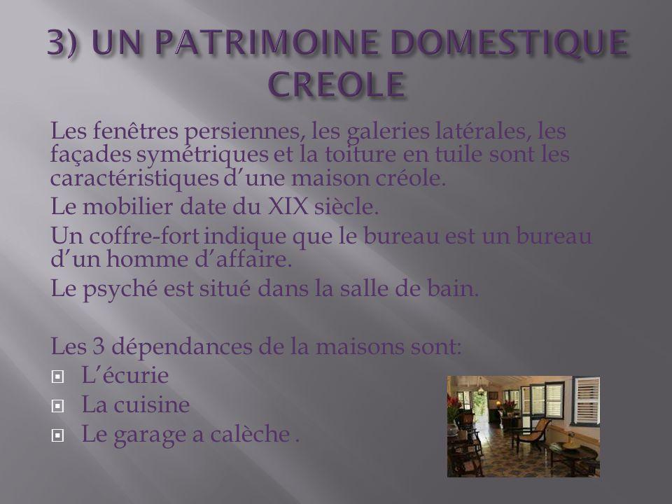 Les fenêtres persiennes, les galeries latérales, les façades symétriques et la toiture en tuile sont les caractéristiques d'une maison créole. Le mobi