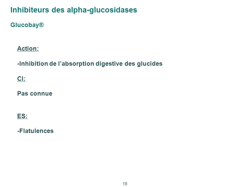 Inhibiteurs des alpha-glucosidases Glucobay® 18 Action: -Inhibition de l'absorption digestive des glucides CI: Pas connue ES: -Flatulences