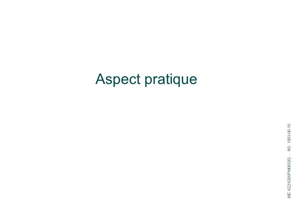 Aspect pratique ME 422HQ09PM065(6) - NS 1883-06-10