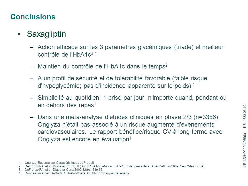 Conclusions Saxagliptin –Action efficace sur les 3 paramètres glycémiques (triade) et meilleur contrôle de l'HbA1c 3-4 –Maintien du contrôle de l'HbA1