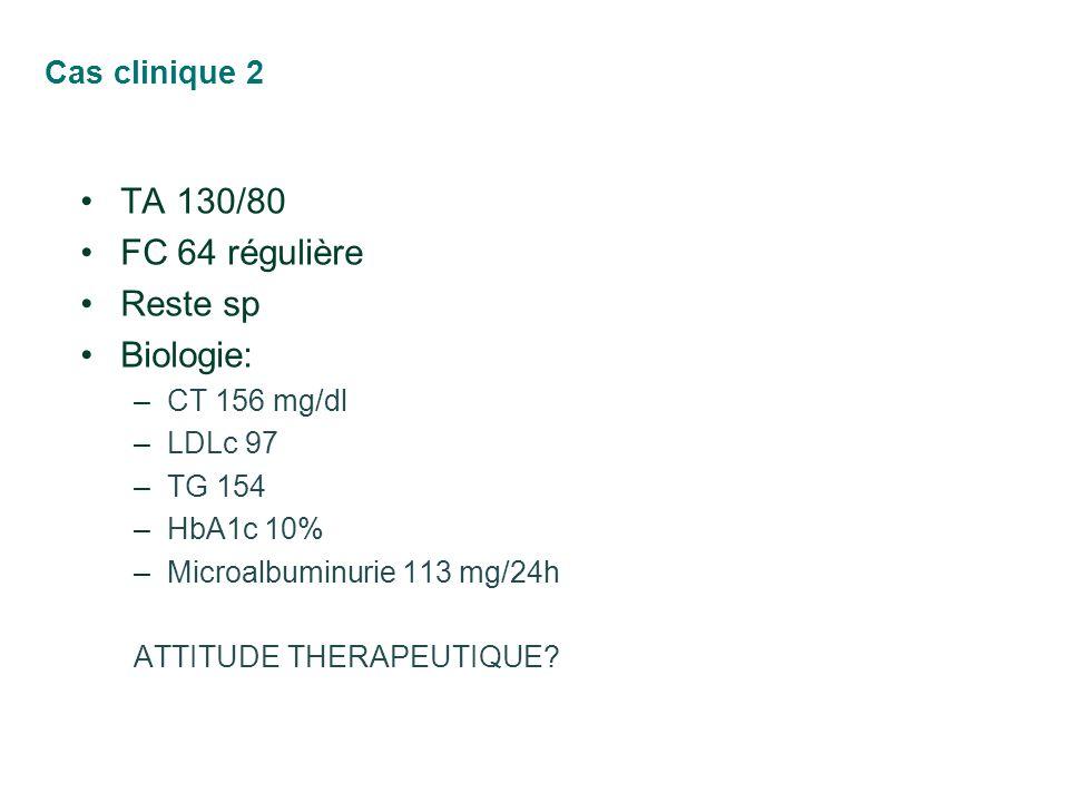 Cas clinique 2 TA 130/80 FC 64 régulière Reste sp Biologie: –CT 156 mg/dl –LDLc 97 –TG 154 –HbA1c 10% –Microalbuminurie 113 mg/24h ATTITUDE THERAPEUTI