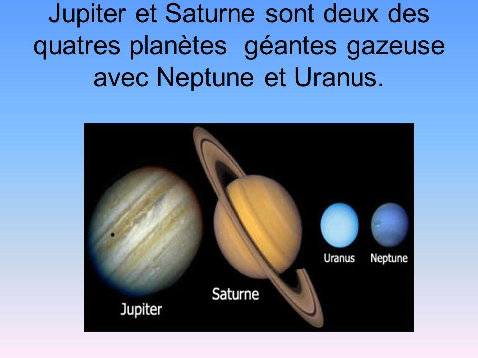 Jupiter et Saturne sont deux des quatres planètes géantes gazeuse avec Neptune et Uranus.