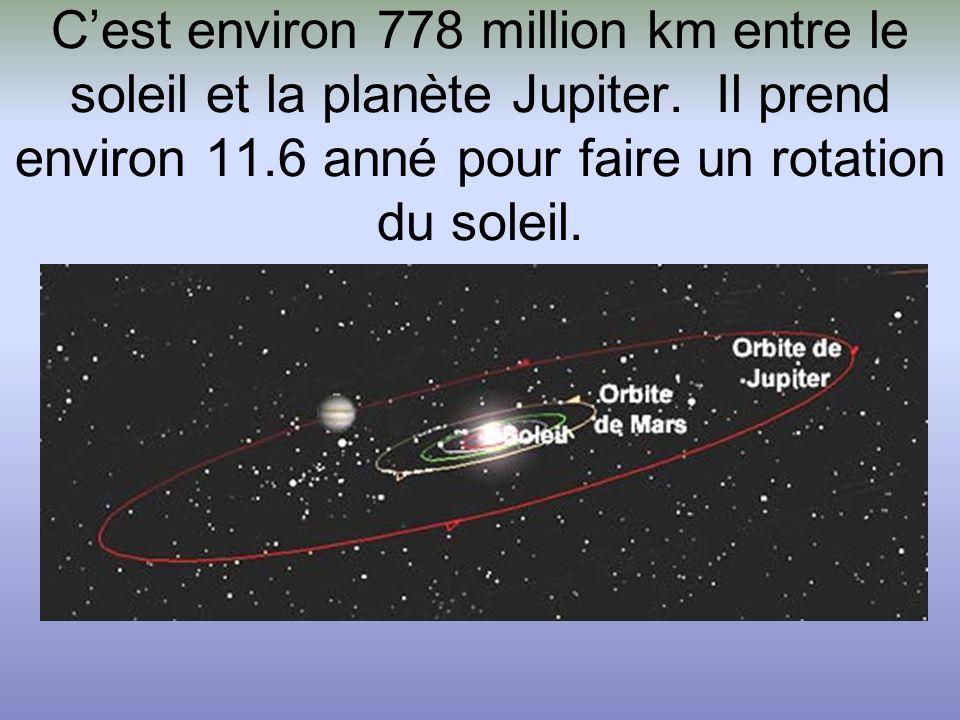 C'est environ 778 million km entre le soleil et la planète Jupiter. Il prend environ 11.6 anné pour faire un rotation du soleil.
