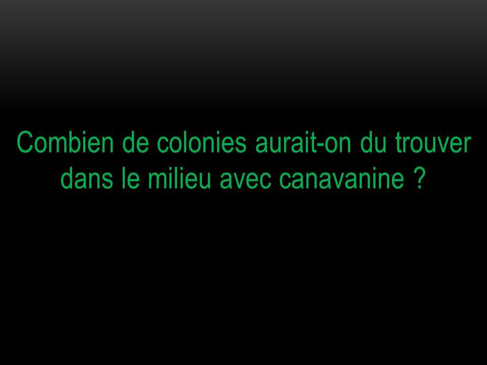 Cette souche [CanS] étant sensible à la canavanine aucune colonie n'aurait du se développer.