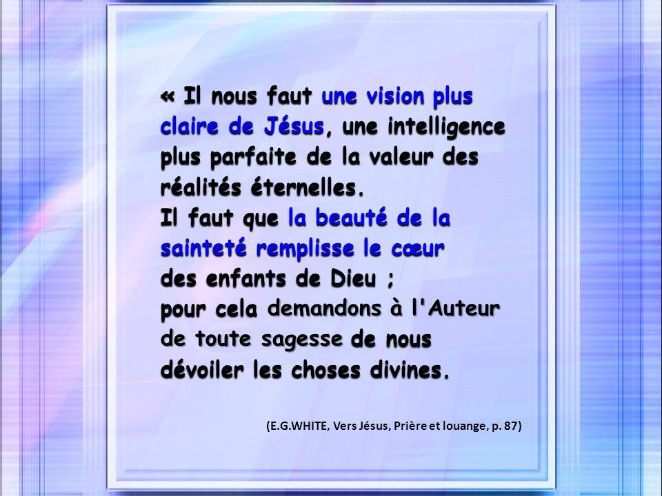 « Il nous faut une vision plus claire de Jésus, une intelligence plus parfaite de la valeur des réalités éternelles. Il faut que la beauté de la saint
